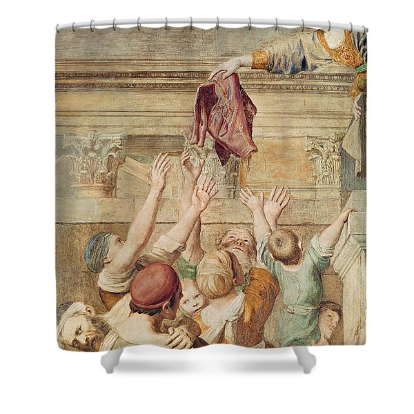 Detail Of Saint Cecilia Distributing Alms Shower Curtain
