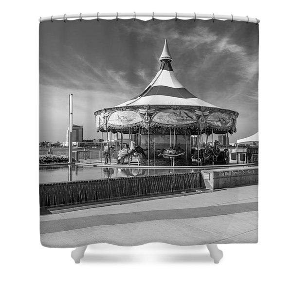 Detroit Carousel Black And White  Shower Curtain