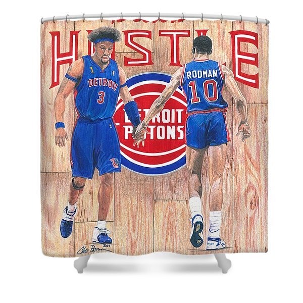 Detroit Hustle - Ben Wallace And Dennis Rodman Shower Curtain