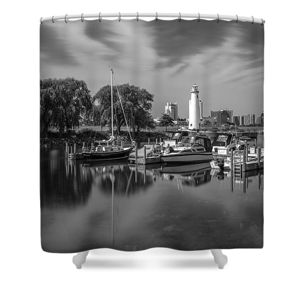 Detroit Marina And Lighthouse Black And White 5 Shower Curtain