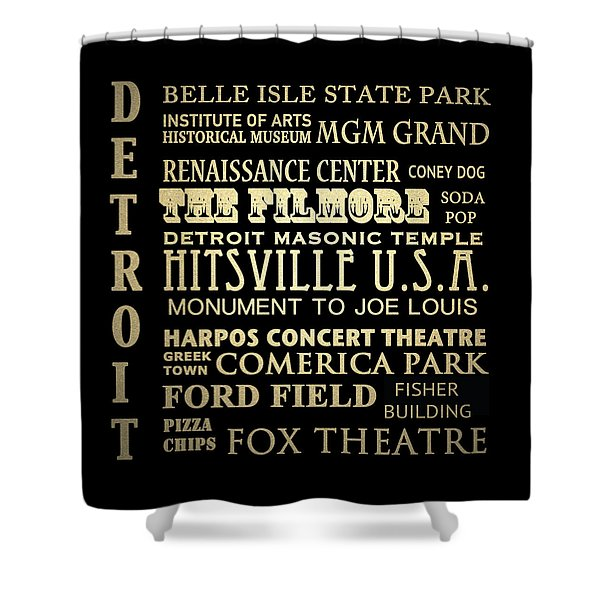 Detroit Michigan Famous Landmarks Shower Curtain