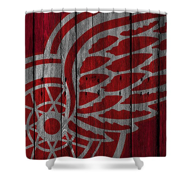 Detroit Red Wings Wood Fence Shower Curtain