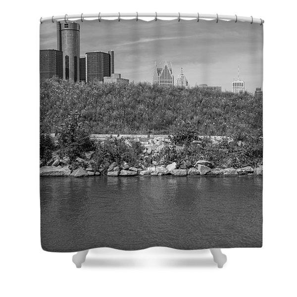 Detroit Renaissance Center Black And White  Shower Curtain