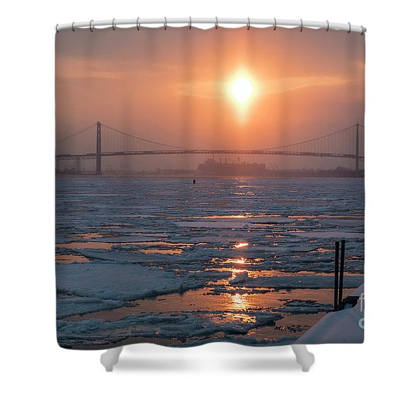 Detroit River Sunset Shower Curtain
