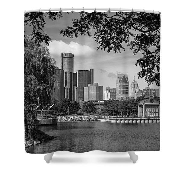 Detroit Skyline And Marina Black And White  Shower Curtain