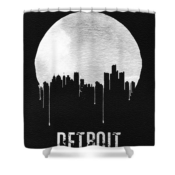Detroit Skyline Black Shower Curtain