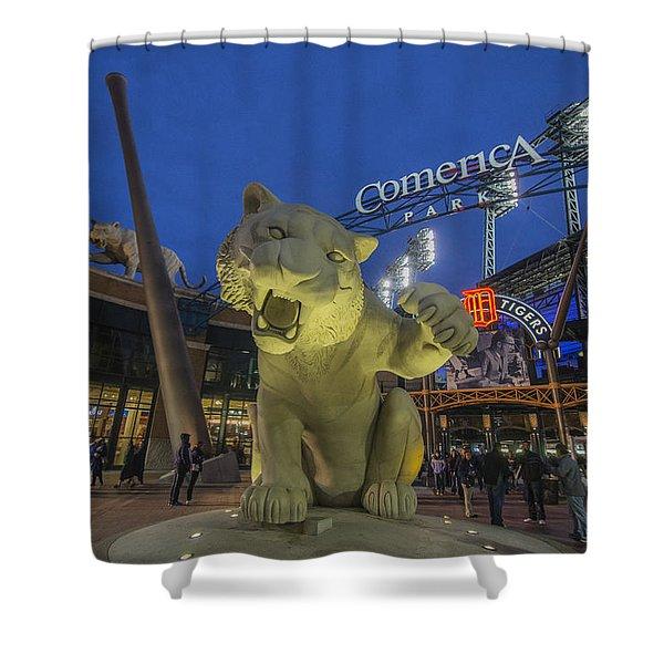 Detroit Tigers Comerica Park Front Gate Tiger Shower Curtain