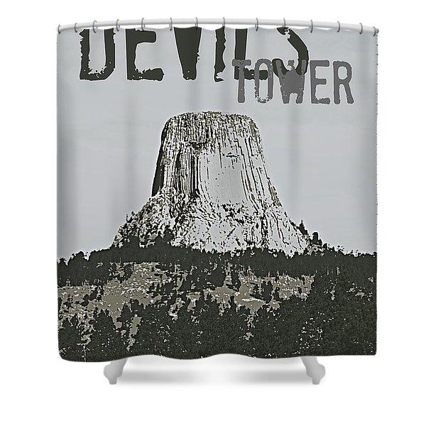 Devils Tower Stamp Shower Curtain