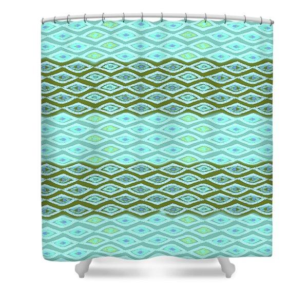 Diamond Bands Aqua Olive Shower Curtain