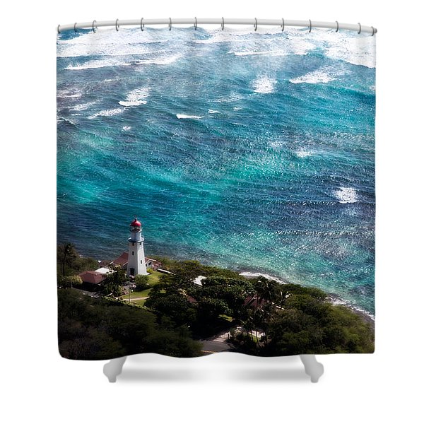 Diamond Head Lighthouse Shower Curtain