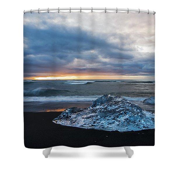 Diamond Sunrise, Jokulsarlon Bay, Iceland Shower Curtain