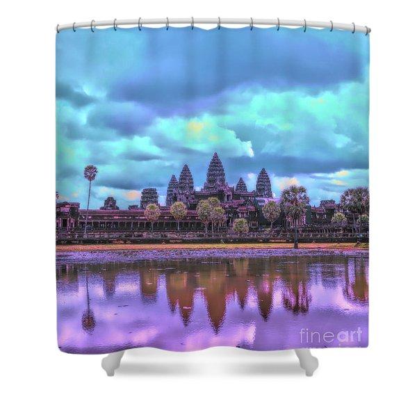 Digital Art Cambodia Angkor Wat  Shower Curtain
