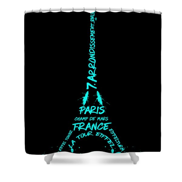 Digital-art Eiffel Tower Cyan Shower Curtain