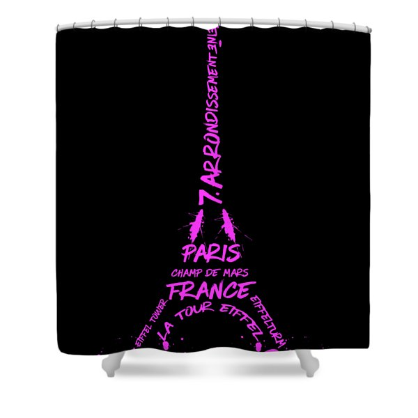 Digital-art Eiffel Tower Pink Shower Curtain