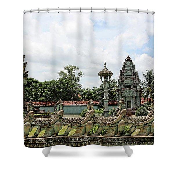 Digital Cambodia Architecture  Shower Curtain