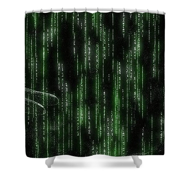 Digital Dragonfly Shower Curtain