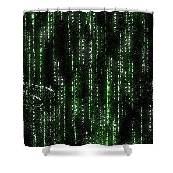 Digital Dragonfly Shower Curtain