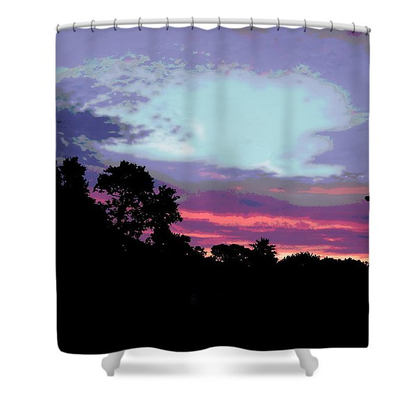 Shower Curtain featuring the painting Digital Fine Art Work Sunrise In Violet Gulf Coast Florida by G Linsenmayer