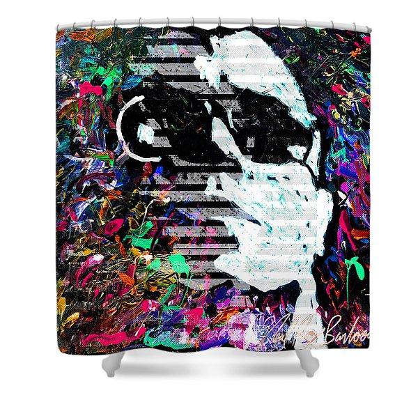digital Lou Reed Shower Curtain