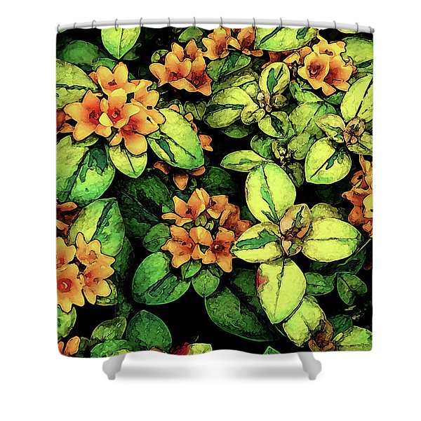 Digital Painting Quilted Garden Flowers 2563 Dp_2 Shower Curtain