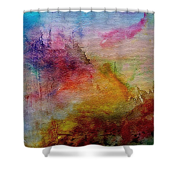 1a Abstract Expressionism Digital Painting Shower Curtain