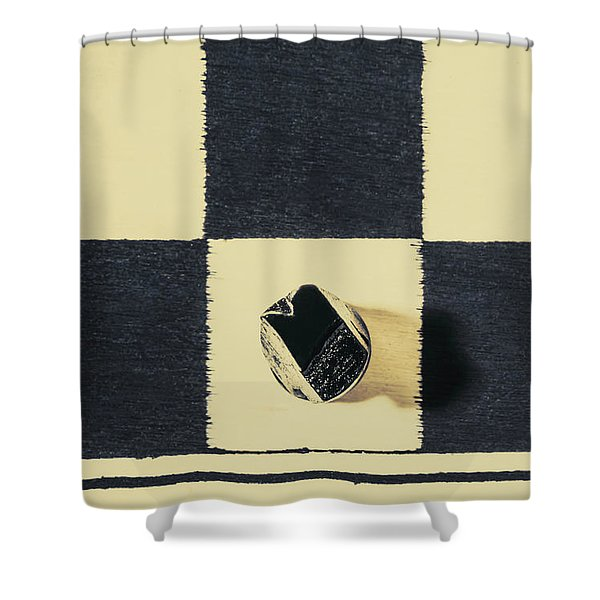 Dimensional Chess Shower Curtain