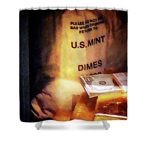 Dimes Dollars And Gold Shower Curtain