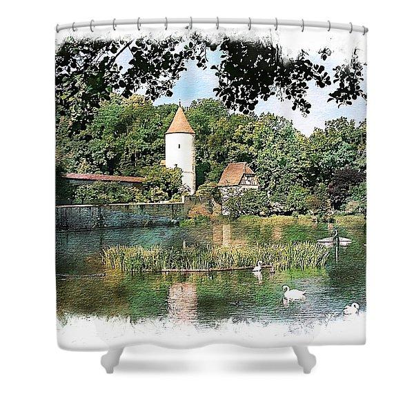 Dinkelsbuhl - Rothenburg Pond Shower Curtain