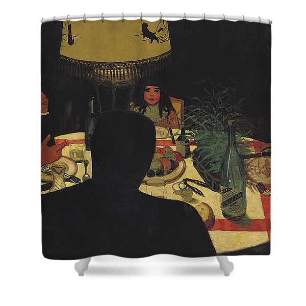 Dinner By Lamplight Shower Curtain