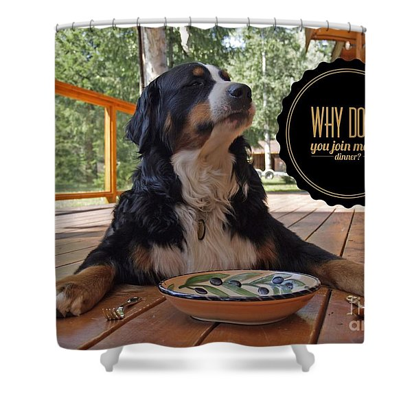 Dinner With My Dog Shower Curtain