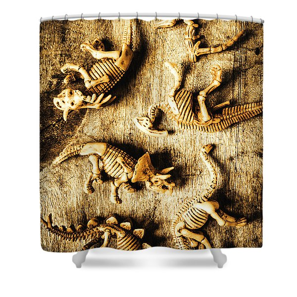 Dinosaurs In A Bone Display Shower Curtain