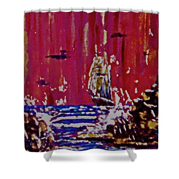 Disaster On The Reef Shower Curtain