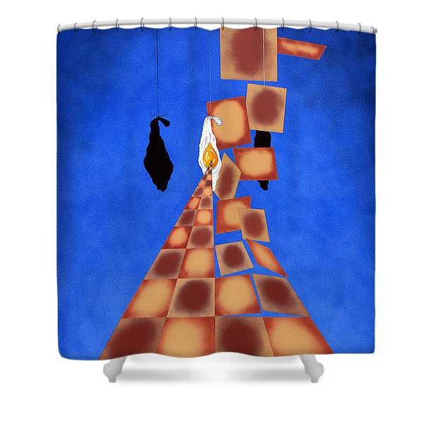 Disrupted Egg Path On Blue Shower Curtain