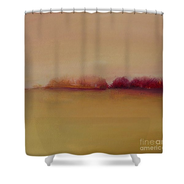 Distant Red Trees Shower Curtain