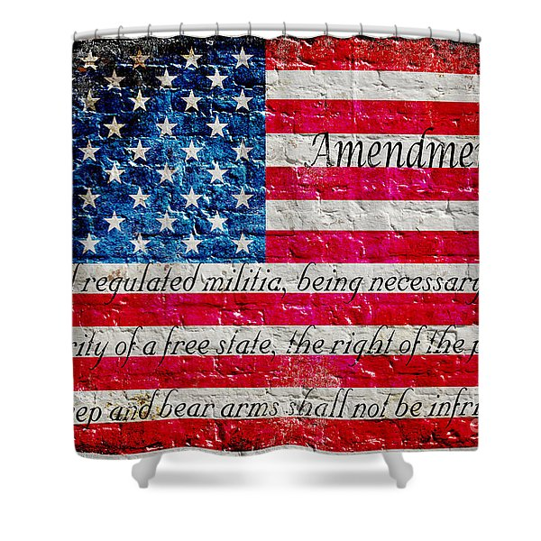 Distressed American Flag And Second Amendment On White Bricks Wall Shower Curtain