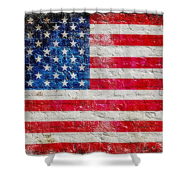 Distressed American Flag On Old Brick Wall - Horizontal Shower Curtain