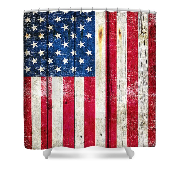 Distressed American Flag On Wood - Vertical Shower Curtain