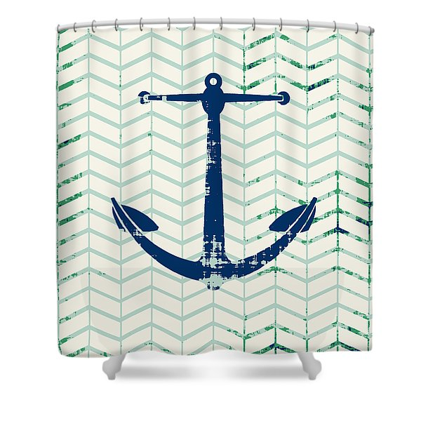 Distressed Navy Anchor V2 Shower Curtain