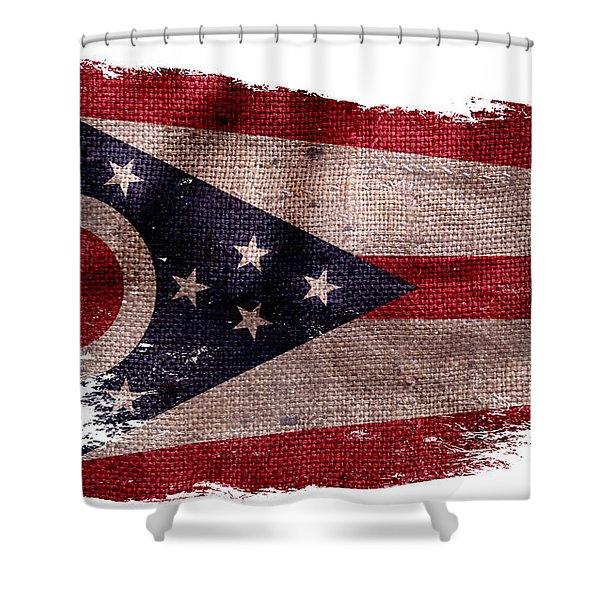 Distressed Ohio Flag Shower Curtain