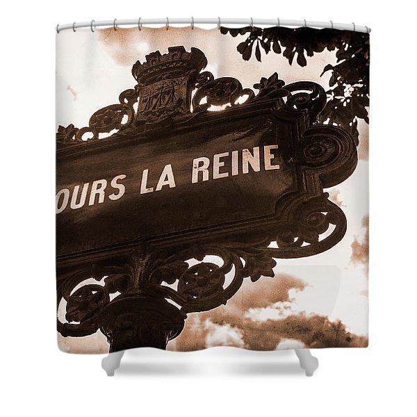 Distressed Parisian Street Sign Shower Curtain