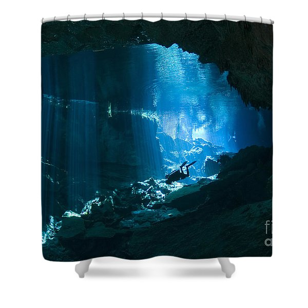 Diver Enters The Cavern System N Shower Curtain