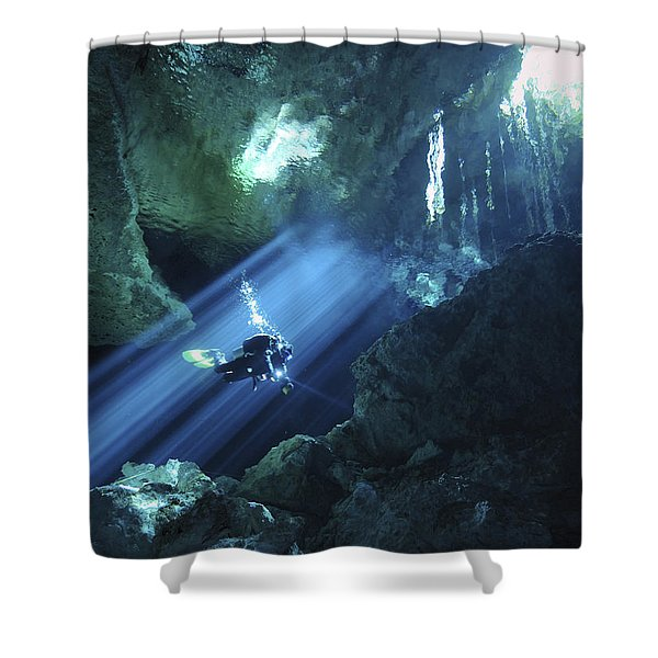 Diver Silhouetted In Sunrays Of Cenote Shower Curtain