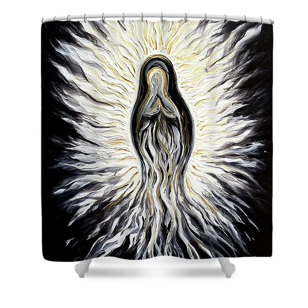 Divine Mother Black And White Shower Curtain