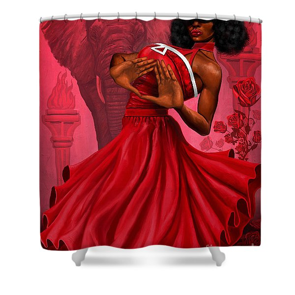 Divine Red And White Shower Curtain