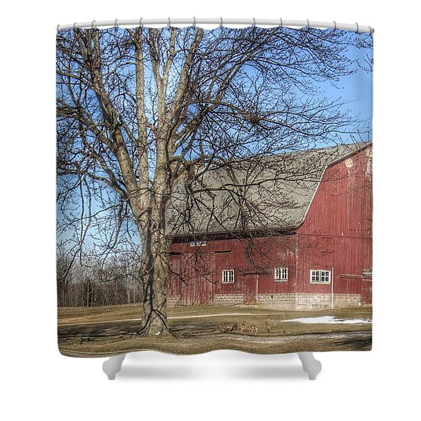 0010 - Dixon Road Red Shower Curtain
