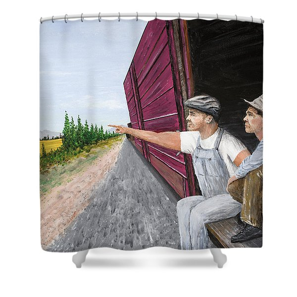 Shower Curtain featuring the painting Do You Think They Have Rabbits by Kevin Daly
