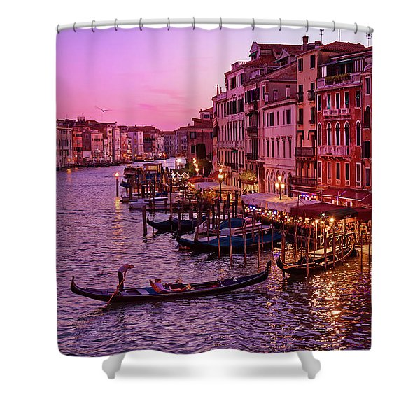 A Cityscape With Vintage Buildings And Gondola - From The Rialto In Venice, Italy Shower Curtain
