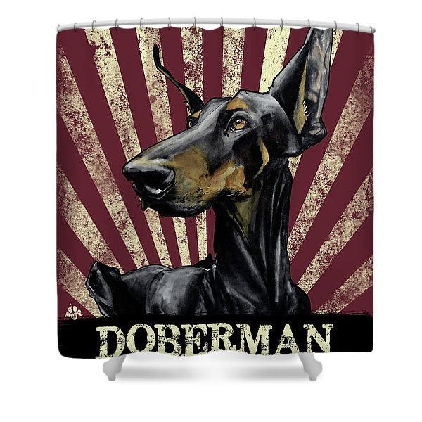 Doberman Revolution Shower Curtain
