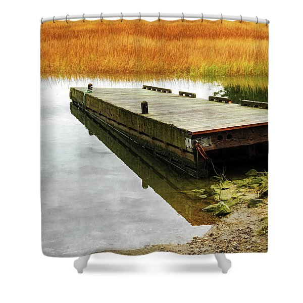 Shower Curtain featuring the photograph Dock And Marsh by Tom Singleton