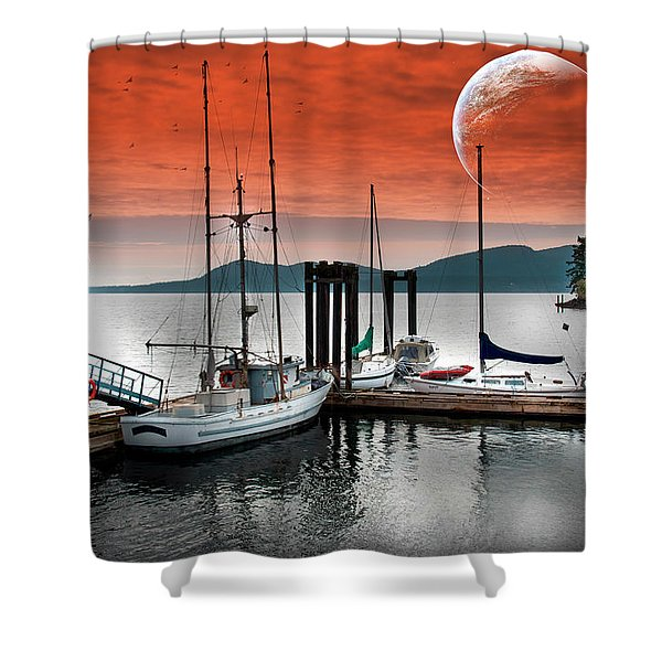 Dock And The Moon Shower Curtain
